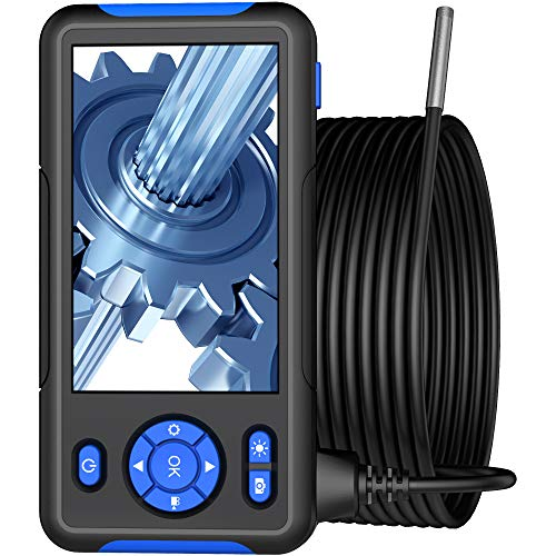 Industrial Endoscope Borescope Inspection Snake Camera with 4.3 inch IPS Screen 1080P HD Digital Cameras, 9.84 Feet Semi-Rigid Cord with LED Light, 32GB TF Card, Side Mirror, Hook (Blue)
