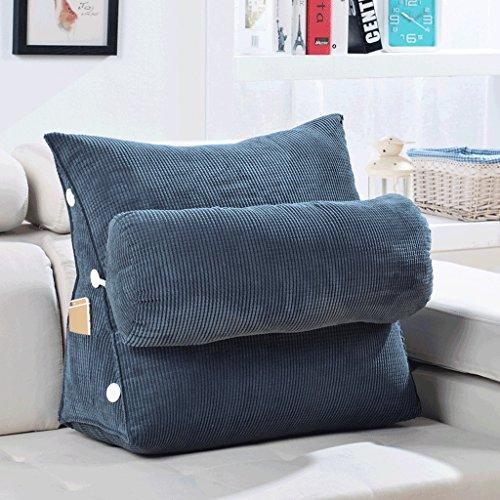 Coussins Mmm- Canapé Oreiller Triangle Chevet Bureau Taille Dossier Lit Cou Protection Oreillers (Couleur : Gris foncé, Taille : 60 cm)