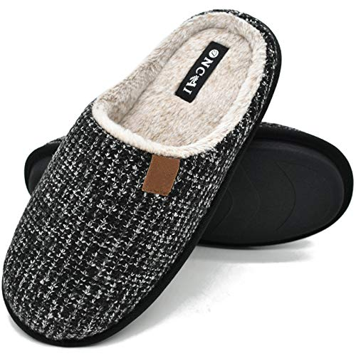 ONCAI Mens Slippers Black Knit Stripes Cozy Memory Foam Scuff Slippers Slip On Warm Faux Fur House Shoes Indoor/Outdoor with Best Arch Surpport Size 12