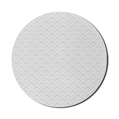 Graues und weißes Mauspad für Computer, diagonale quadratische Formen mit Zick-Zack-Linien Architektonisches Monochrom, rundes, rutschfestes, dickes, modernes Gaming-Mousepad aus Gummi, 8 'rundes, gra