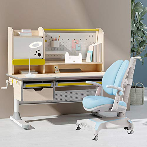 FCD Large Real Wood Adjustable Kids Study Desk Ergonomic Multi Function Drafting Table with Chair and Eye Protection Light (Desk+Chair+Light, Blue)