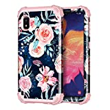 Hekodonk for Samsung Galaxy A10E Case, Heavy Duty Shockproof Protection Hard Plastic+Silicone Rubber Hybrid Protective Case for Samsung Galaxy A10E-Navy Blue