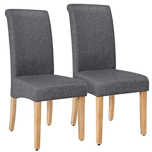 SONGMICS Polsterstühle, Küchenstühle 2er Set, Esszimmerstühle mit hoher Rückenlehne, Baumwoll-Leinenstoff, Beine aus Massivholz, dunkelgrau-naturfarben LDC21GY