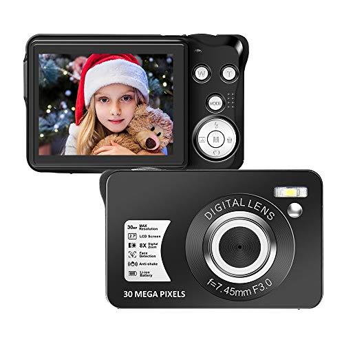 Cámara Digital Camara de Fotos 2.7 Pulgadas 1080P 30 megapíxeles HD Camara Fotos Recargable Cámara para de Bolsillo Cámaras Digitales con Zoom 8X Camara Compacta para fotografía para Principiantes
