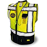 KwikSafety (Charlotte, NC) SPECIALIST (Multi-Use Pockets) Class 2 ANSI High Visibility Reflective Safety Vest Heavy Duty Solid/Mesh Zipper HiVis Construction Surveyor Work Men Black Extra Large