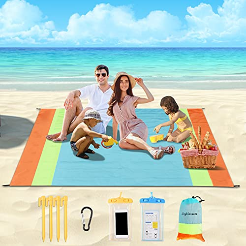 Beach Blanket Sandproof, Large Beach Mat Sand Free Waterproof 79'' X 83''for 4-7 Adult Portable Outdoor Picnic Blanket with Sand Pocket Quick Drying Mats for Camping Hiking Travel