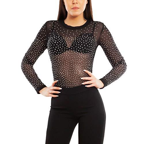 Toocool – Body Mujer Terciopelo Tachuelas Strass Teddy Top Velato Transparente VI-83516 Negro S-M
