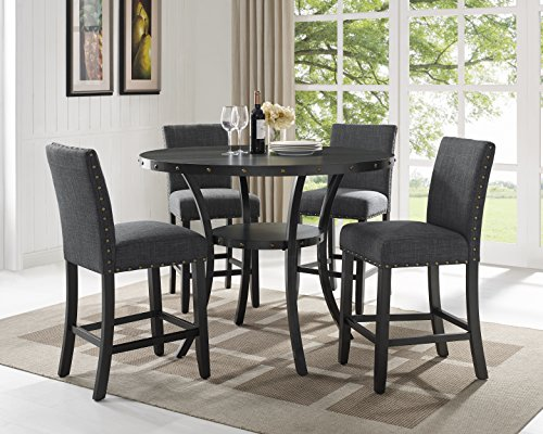 Roundhill Furniture Collection Biony Espresso Wood Counter Height Dining Set with Gray Fabric Nailhead Stools