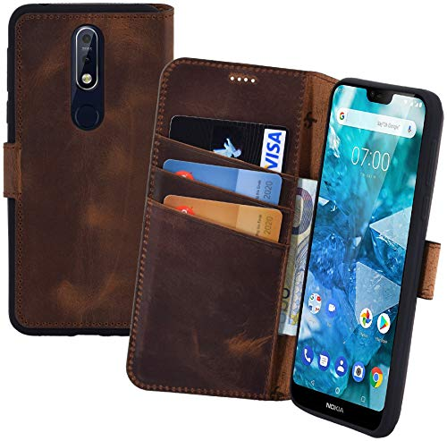 Suncase Book-Style kompatibel für Nokia 7.1 Hülle (Slim-Fit) Leder Tasche Handytasche Schutzhülle Hülle (mit Standfunktion & Kartenfach - Bruchfester Innenschale) in antik Coffee