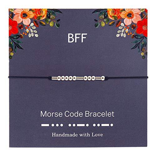 2pc Te Amo Código Morse Pulsera Simple - Pulsera Hecha A Mano De Abalorios En El Regalo De La Pulsera De La Amistad del Cordón para Su Joyería (Color : BFF)