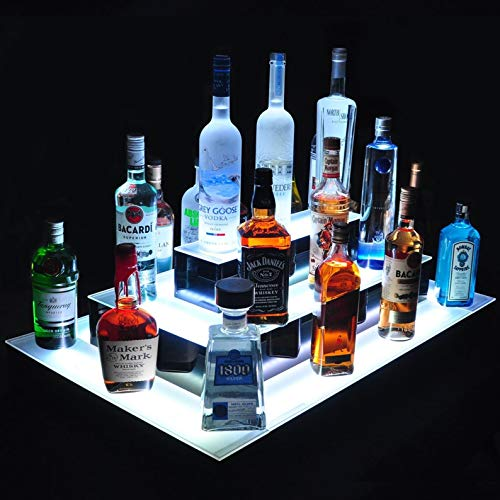 Nurxiovo LED Liquor Bottle Display 31 Inches LED Bottle Display Shelves Lighted 3 Step Island Shelf DIY Mode for Bar Home Party Illuminated Bottle Shelf with Remote Control 31-1/2x21-3/5x12''(LxWxH)