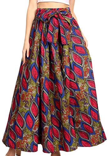 Sakkas 19417 - Pochettes et Taille élastique pour Femmes Maxi Long avec imprimé Africain à Ankara - Ami