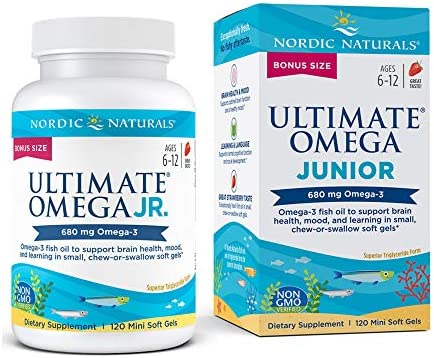 Nordic Naturals Ultimate Omega Jr Strawberry 120 Mini Soft Gels 680 Total Omega 3s with EPA product image