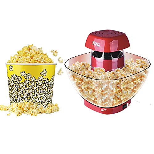 YTNP Oil-Free Hot Air Popcorn Machine, Electric Popcorn Maker,Household Machine Healthy Home Made Treats,1200W Hot Air Popcorn Maker, Fat-Free,Measuring Cup, Removable Lid