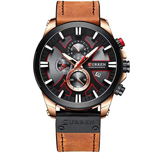 Relojes Hombre Cronógrafo de Moda Reloj de Pulsera Deportivo de Cuarzo Reloj de Correa de Cuero Curren con Fecha Reloj Hombre Manos Luminosas