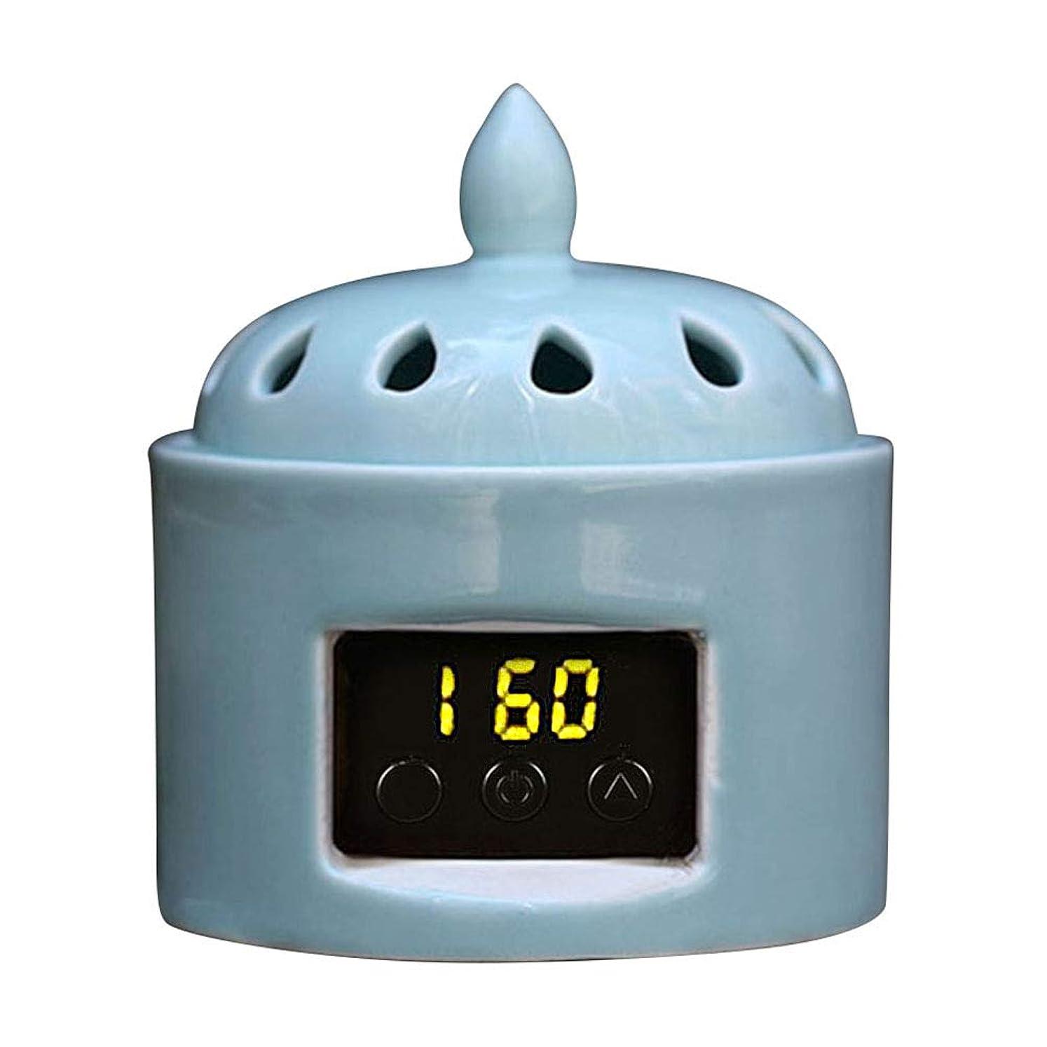 誰も時親密なアロマディフューザー LCD温度制御 香炉、 電気セラミック 寒天 エッセンシャルオイル アロマテラピーディフューザー、 ホーム磁器、 バルコニー、 ポーチ、 パティオ、 ガーデンエッセンシャル セラミック電気香炉