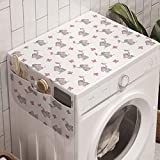 Ambesonne Elephant Cartoon Washing Machine Organizer, Baby Elephants Playing Butterflies Design Pattern, Anti-slip Fabric Cover for Washers and Dryers, 47' x 18.5', Grey Pale Pink White