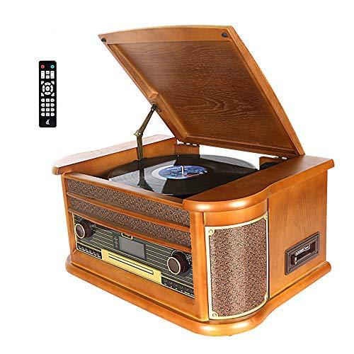 Dab Tocadiscos, DLITIME Record Player con Radio FM/USB/RCA/AUX/Control Remoto/CD/Reproductor de Casetes Giradiscos de Vinilo