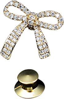 Prettyia Women Shirt Bowknot Brooch Crystal Lapel Pins Safety Novelty Cardigan Sweater Decorate Buttons Buckle Tie Tacks P...