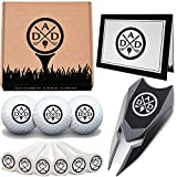 Double Take Gifts 12 Piece Golf Gift Set: 3 in 1 Engraved Divot Repair Tool, Custom Balls, Ball Marker, Logo tees and Greeting Card Included!