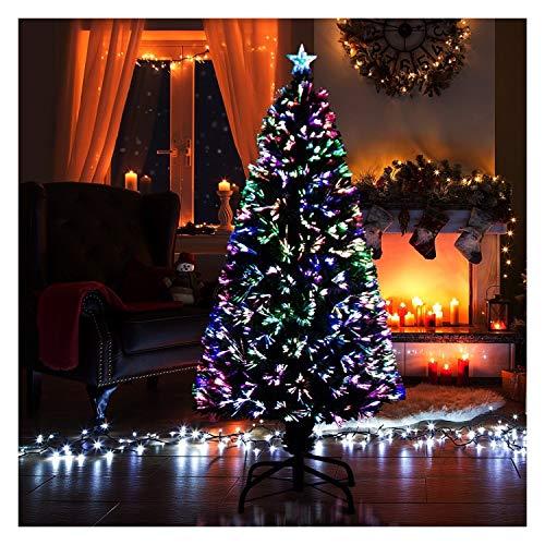 ASKLKD Poste De Luz, Árbol De Pre-Encendido De Fibra Óptica De Navidad Artificial De Vacaciones De Navidad Decoración con La Punta del Árbol De Múltiples Colores, Decoradas (5 Pies 150cm)