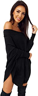 Londony▼ Women's Solid Off Shoulder Long Sleeve Sweater T Shirt High-Low Hem Tunic Dress