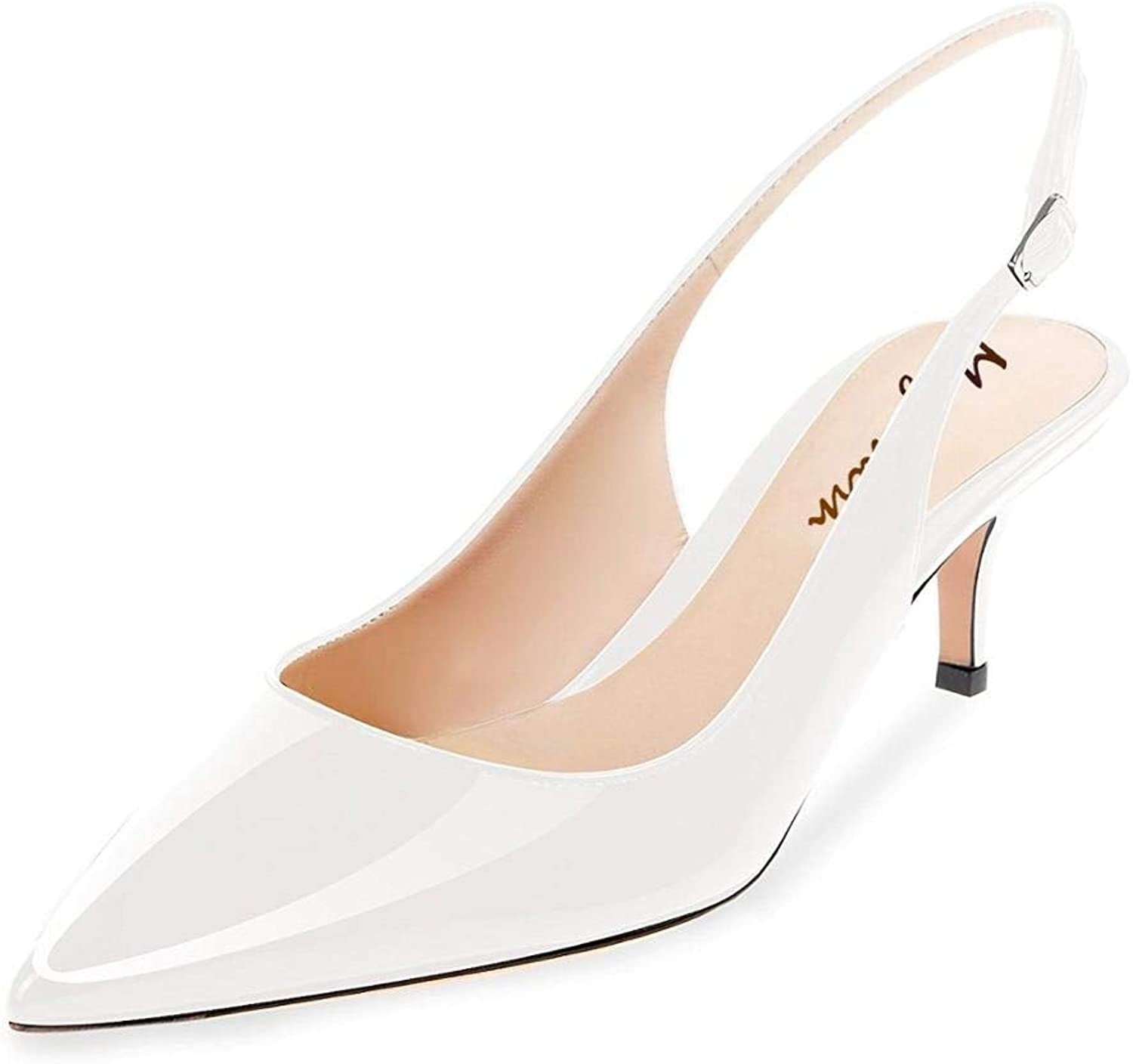 Maguidern Patent Leather Slingback Pumps, Women's Pointed Toe Slingbacks Buckle Ankle Strap Low Heel shoes White Size 9