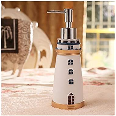 Leop Mediterranean Style Cute Lighthouse Decorative Bathroom Accessory Set Liquid Soap Lotion Pump Dispenser Resin White