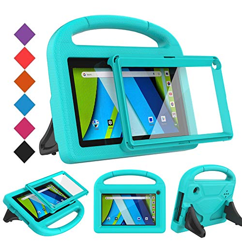 BMOUO Kids Case for RCA Voyager 7 Tablet, RCA Voyager 7 inch Tablet Case with Screen Protector, Shockproof Light Weight Stand Kids Case for RCA Voyager I II III 7 inch Tablet, Turquoise