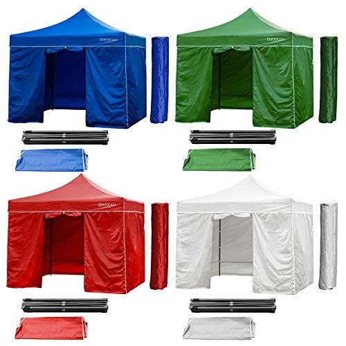 DARDARUGA Zusammenklappbarer Pavillon, 3 x 3 m, klappbar, Akkordeon, Marktzelt, Tasche und Wände und Fenster (blau)