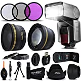 Premium 52mm Accessory Kit for Nikon D750 Nikon D7100 D7000 D5300 D5200 D5100 D810 D800 D610 D600 D3300 D3200 D3100 D4x D3x DSLR Cameras - Includes: High Definition Wide Angle Lens with Macro Closeup feature, + High Definition 2X Telephoto Lens + Professional Speedlight Flash + 3 Piece HD Filter Set + + Ring Adapters to from 46-62mm + 52mm Tulip shaped Hard Lens Hood + 52mm Soft Rubber Lens Hood + 52mm Lens Cap + Universal Card Reader + Mini Table Tripod + Memory Case Holder + Screen Protectors + Mini Blower + Cleaning Pen + Lens Cap Holder + Deluxe Cleaning Kit + Ultra Fine HeroFiber Cleaning Cloth