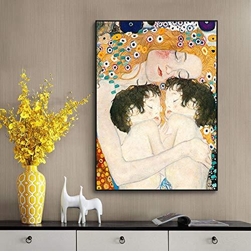Pintura famosa Madre Amor Gemelos Bebé de Gustav Klimt Pintura en lienzo Carteles e impresión Imagen de arte de pared para la decoración de la sala de estar 30x45cm Sin marco