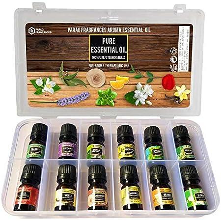 Parag Fragrances Pure Essential Oil (12Pc Launching Offer Pack) Lavender, Tea Tree, Eucalyptus, Pippermint, Rosemary, Lemongrass, Sandalwood, Jasmine, Mogra, Rose, Vanilla & Orange/Undiluted, Natural & Pure