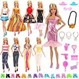 BARWA Lot 15 Items 5 Sets Fashion Dresses Casual Wear Clothes with 10 Pair Shoes, 13 Accessories for 11.5 Inch Girl Doll Birthday Xmas Gift