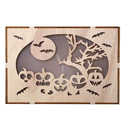 Heetey Halloween Dekoration Holz Kürbis Spukhaus Anhänger LED Nachtlicht Halloween Home Decor Clever Holz Halloween runde Ausschnitte Kürbis Spukhaus Anhänger...
