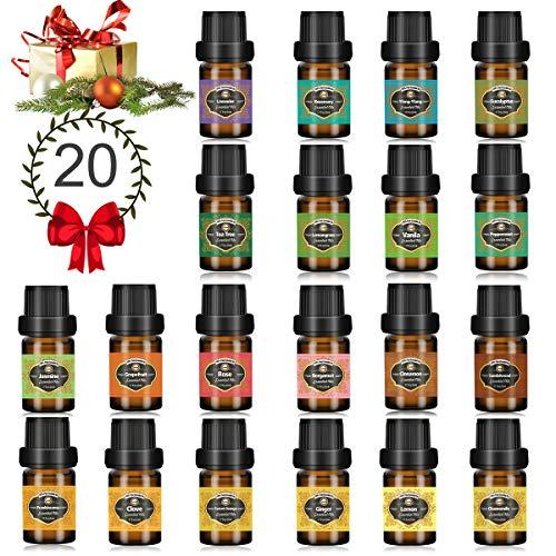 Innoo Tech Huiles Essentielles 20 x 5 ml Aromathérapie 100% Pure et Naturelle, Huile Essentielle pour Diffuseurs Massage, Idéal Coffret Cadeau