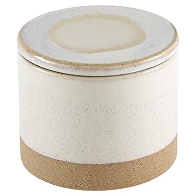 Amazon Brand – Stone & Beam Organic-Shape Stoneware Round Decorative Organizer Box, 4.75 Inch Height, Sand