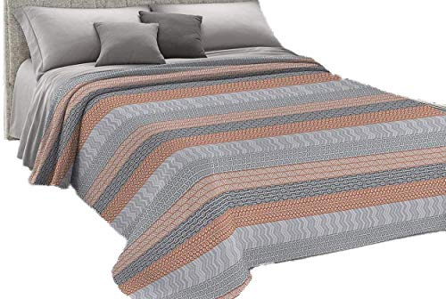 HomeLife Frühlings-Tagesdecke aus Piqué [220 x 280], hergestellt in Italien, französisches Bett, Baumwolle, Azteken-Stil, leichte Steppdecke für französisches Bett, 1,5 P, Orange