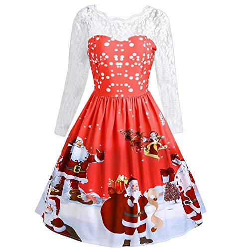 Xmiral Damen Weihnachten Kleid Mode Spitze Langarm Schnee Vintage Swing Dress (M,Rot2)