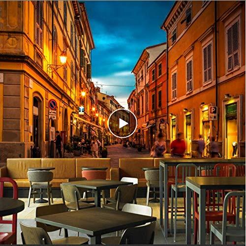 Cczxfcc 3D-fotobehang wandschilderijen Luxe Europa Frankrijk romantiek nacht blik restaurant librairie 3D 250 x 175 cm.