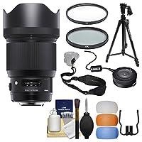 Sigma 85mm f / 1.4アートDG HSMレンズwith USB Dock +三脚+ 2(UV/CPL)フィルター+フラッシュDiffusers +スリングストラップ+キットfor NikonデジタルSLRカメラ