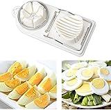 Tagliauovo 2 in 1 in acciaio inox a 2 vie, utensili da cucina per tagliare le uova sode, uova sode conservate, strumenti per la produzione di uova 19.7*8.8cm bianco