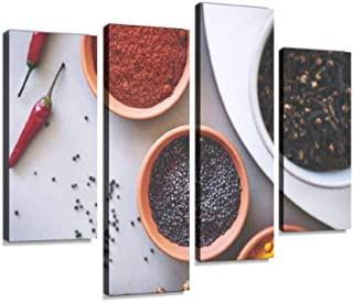 4 Panel ready to make any dish a masterpiece masala stock pictures, royalty Canvas Pictures Home Decor Gifts Canvas Wall A...