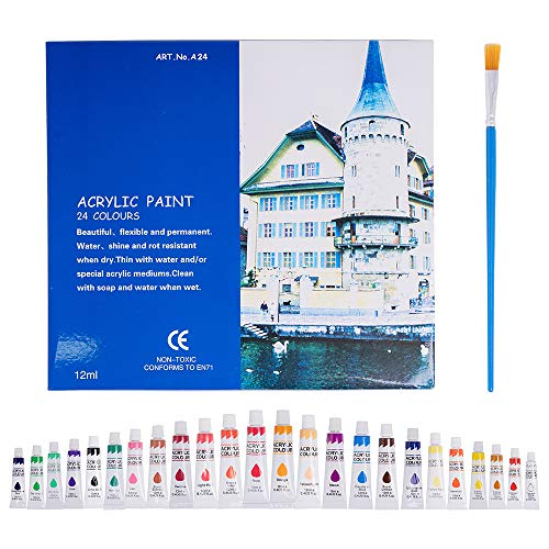Acrylic Paint Set,24 Acrylic Paints, 24 Tubes of 0.4 oz (12 mL) and 1 Artist Brushes,Art Set for Adults and Kids,Perfect for Canvas, Wood, Ceramic, Fabric,Ideal for Painting.