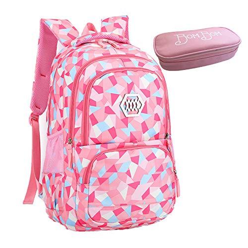 Bom Bom Mochila Escolar Impermeable para Estudiante(rosado)