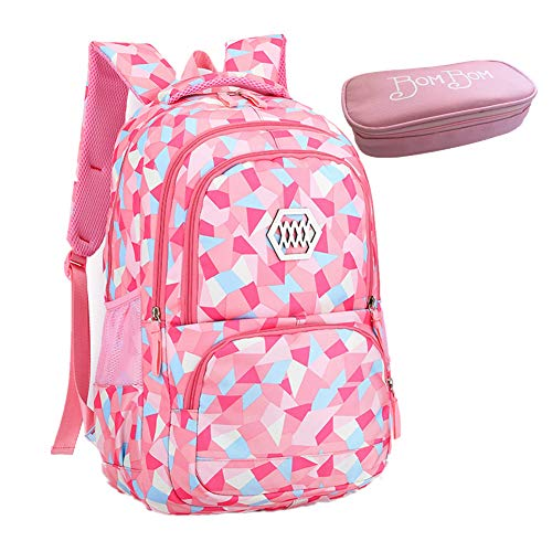 Bom Bom Rucksack Schultasche junge Mädchen Teen Kinder große Schule Rucksack (Rosa)
