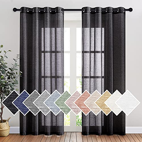 """NICETOWN Vintage Open Linen Weave Flax Sheer Window Curtains, Ring Top Translucent Drapes Privacy with Light Through for Bedroom / Living Room, Black, 52"""" Wide by 84"""" Long, 2 Pieces"""