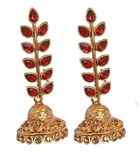 Pahal Traditional Red Kundan Big Gold Jhumka Earrings South Indian Wedding Jewelry Set