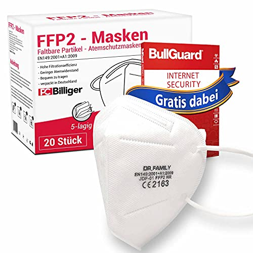 20 Stück FFP2 Masken von Dr.Family + GRATIS BullGuard Internet Security 3 User - CE Zertifiziert Mundschutz 5-lagig Maske mit versteckten Nasenbügel hygienisch verpackt