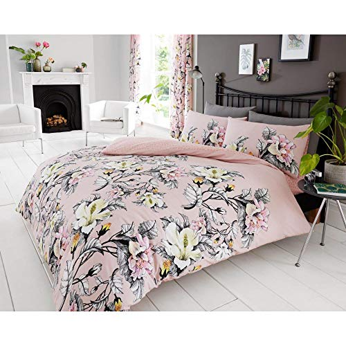 Gaveno Cavailia Pink Theme Premium Homelegance with Duvet Cover Quilt Set, Fleece Throw & Fitted & Flat Bedsheet, (Eden Quilt Cover, King)